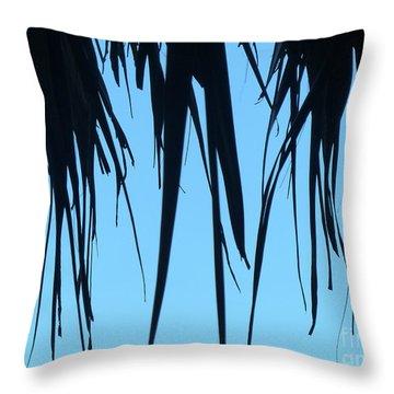 Black Palms On Blue Sky Throw Pillow