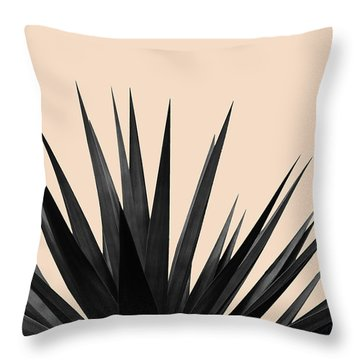 Black Palms On Pale Pink Throw Pillow