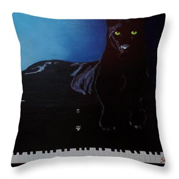 Black Panther And His Piano Throw Pillow