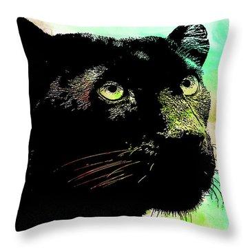 Black Panther Animal Art Throw Pillow