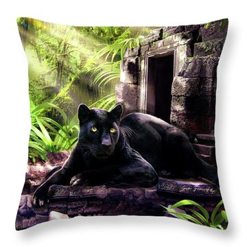 Black Panther Custodian Of Ancient Temple Ruins  Throw Pillow