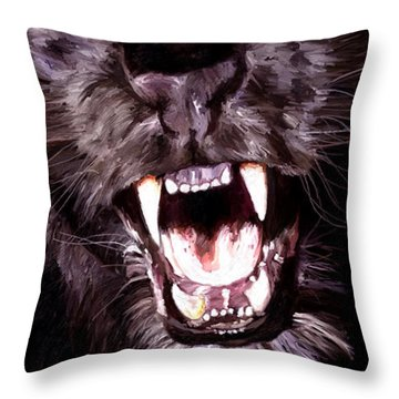 Throw Pillow featuring the painting Black Panther by James Shepherd