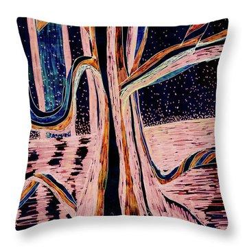 Black-peach Moonlight River Tree Throw Pillow