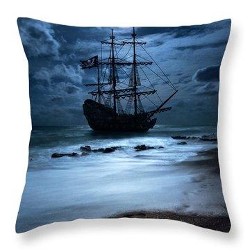Black Pearl Pirate Ship Landing Under Full Moon Throw Pillow by Justin Kelefas