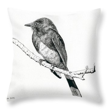 Black Phoebe Throw Pillow