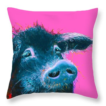 Black Pig Painting On Pink Background Throw Pillow