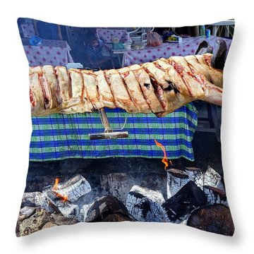 Throw Pillow featuring the photograph Black Pig Spit Roasted In Taiwan by Yali Shi