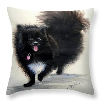Black Pomeranian Dog 3 Throw Pillow