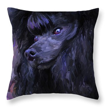 Black Poodle - Square Throw Pillow