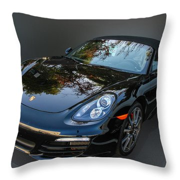 Throw Pillow featuring the photograph Black Porsche by Robert Hebert