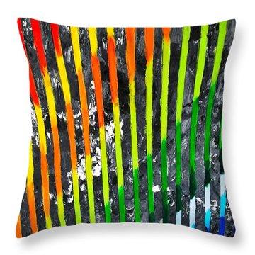 Black Rainbow Throw Pillow
