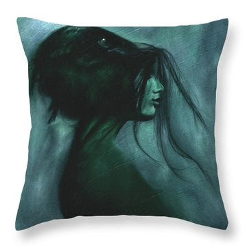 Throw Pillow featuring the painting Black Raven by Ragen Mendenhall