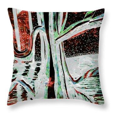 Black-red Moonlight River Tree Throw Pillow