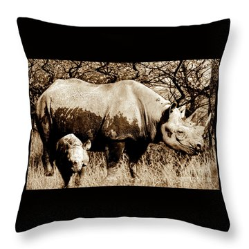 Black Rhino And Youngster Throw Pillow