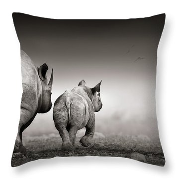Black Rhino Cow With Calf  Throw Pillow