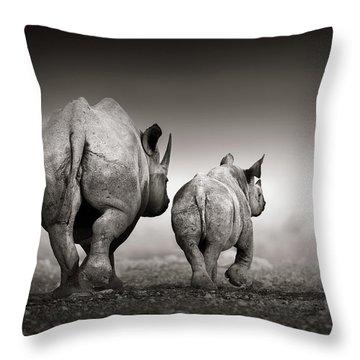 Black Rhino Cow With Calf  Throw Pillow