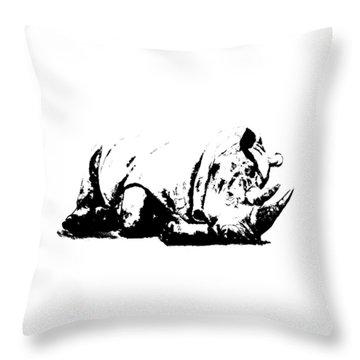 Throw Pillow featuring the ceramic art Black Rhino by Elizabeth Lock