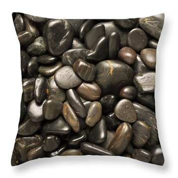 Black River Stones Square Throw Pillow by Steve Gadomski