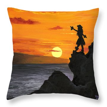 Throw Pillow featuring the painting Black Rock Maui by Darice Machel McGuire