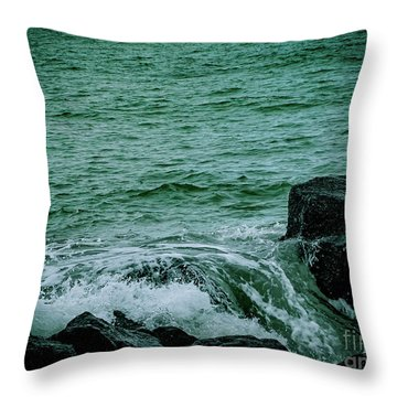 Black Rocks Seascape Throw Pillow