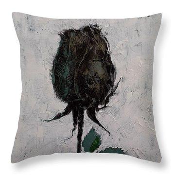 Black Rosebud Throw Pillow