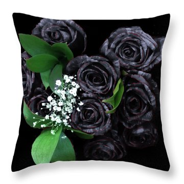 Black Roses Bouquet Throw Pillow
