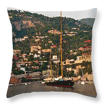 Black Sailboat At Villefranche II Throw Pillow by Steven Sparks