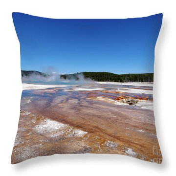 Black Sand Basin In Yellowstone National Park Throw Pillow by Louise Heusinkveld