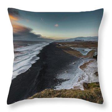 Black Sand Beach Throw Pillow by Allen Biedrzycki