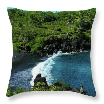 Black Sand Beach  Throw Pillow by Harry Spitz