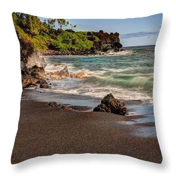 Black Sand Beach Maui Throw Pillow by Shawn Everhart