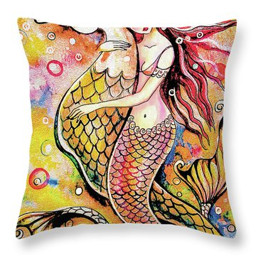 Black Sea Mermaid Throw Pillow