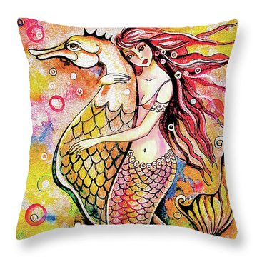 Black Sea Mermaid Throw Pillow