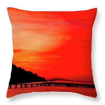 Black Sea Turned Red Throw Pillow by Reksik004