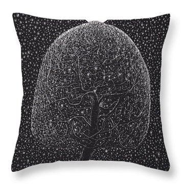 Black Shadow Tree Throw Pillow by Charles Cater
