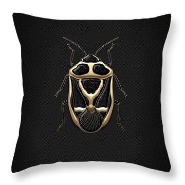 Black Shieldbug With Gold Accents  Throw Pillow