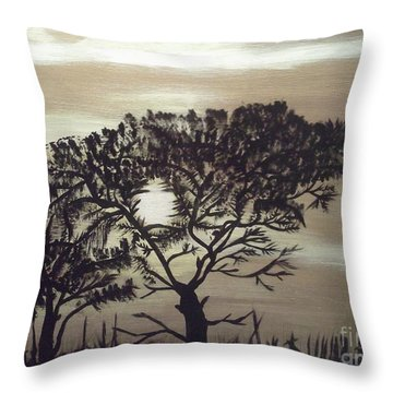 Black Silhouette Tree Throw Pillow