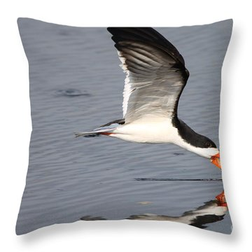 Black Skimmer And Reflection Throw Pillow by Kathy Gibbons