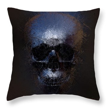 Black Skull Throw Pillow by Vitaliy Gladkiy