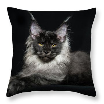 Black Smoke Boy Throw Pillow