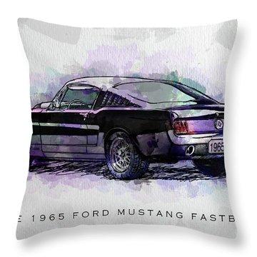 Black Stallion 1965 Ford Mustang Fastback Throw Pillow