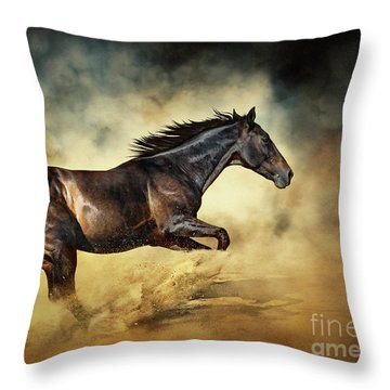 Black Stallion Horse Galloping Like A Devil Throw Pillow