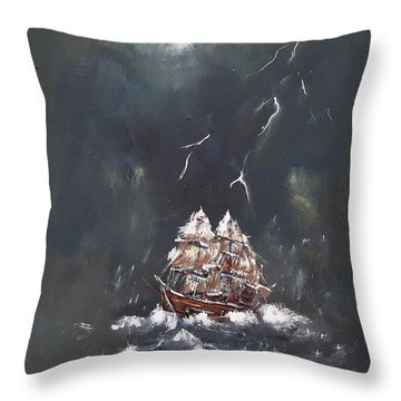Black Storm Throw Pillow
