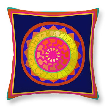 Black Sun Mandala Rune Calendar Throw Pillow