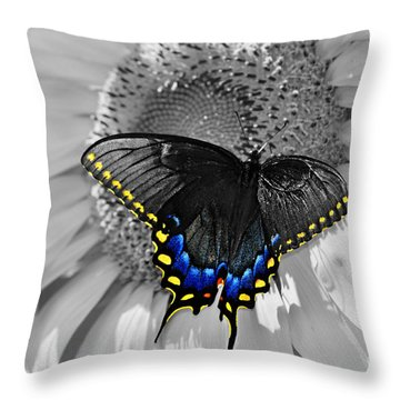 Black Swallowtail And Sunflower Color Splash Throw Pillow
