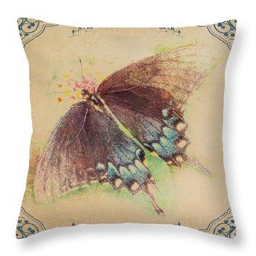 Black Swallowtail Butterfly Framed  Throw Pillow