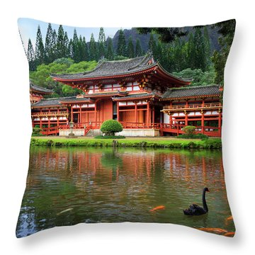 Black Swans At Byodo-in Throw Pillow
