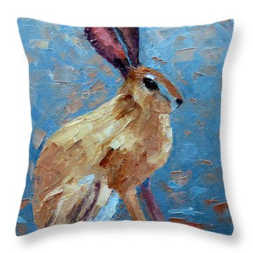 Black-tailed Jackrabbit Throw Pillow by Susan Woodward