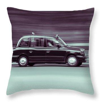 Black Taxi Bw Blur Throw Pillow