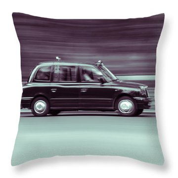 Black Taxi Bw Blur Throw Pillow